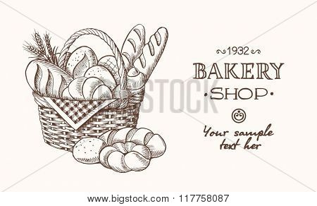 Vector bakery retro background. Vintage Illustration with bread. Sketch.