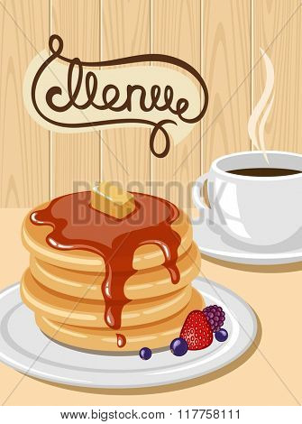 A plate of pancakes and a cup of coffee.