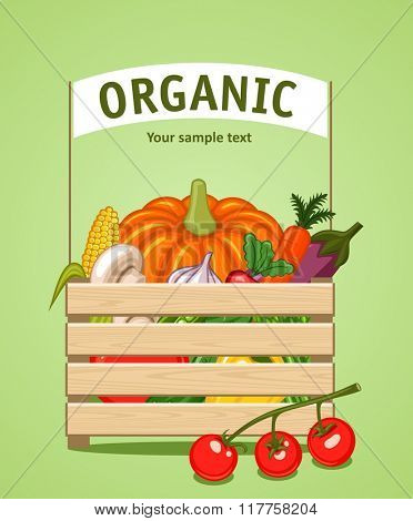 Wooden box with vegetables and fruits in a flat style. The background of fresh, natural foods. Cart with product buy in supermarket. Vector illustration. Diet and organic food template.