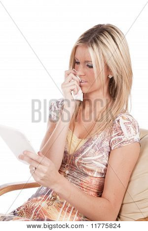 Woman Reading Sad