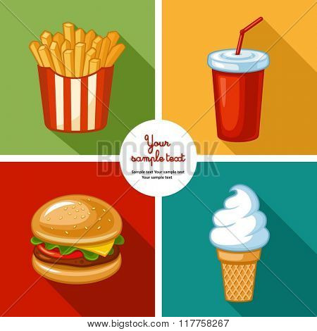 Junk food icon design. Illustrations of unhealthy food, diet symbol or restaurant menu element. French fries, ice cream, hamburgers and other fast food symbols.