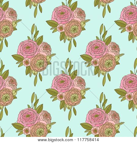 Vintage Seamless floral background, vector peony pattern. Use to create fabric projects or design elements for scrap booking, greeting cards, textiles. Elegance illustration.