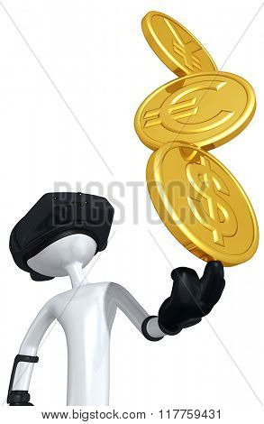 Virtual Reality Yen Euro Dollar YES Currency Coins Money