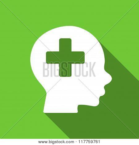 Head Medicine Flat Long Shadow Square Icon