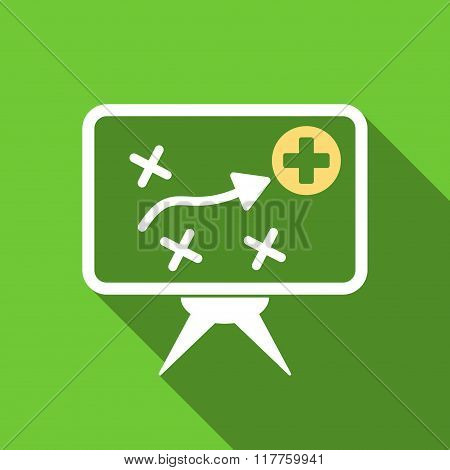 Health Strategy Screen Flat Long Shadow Square Icon
