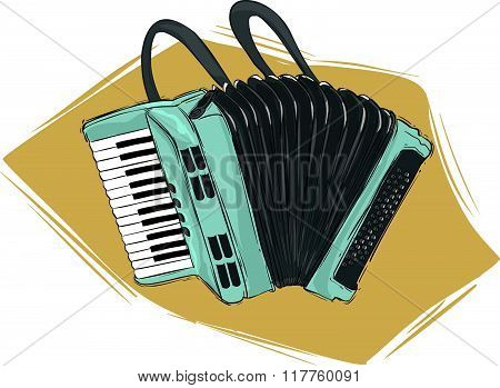 Vector illustration of a accordion illustration .white background.