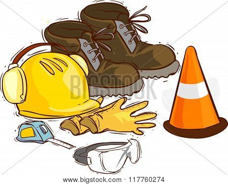 The Building Tools And Protective Means. Working Boots, Tools, Building Helmet, Goggles ,meter Glove