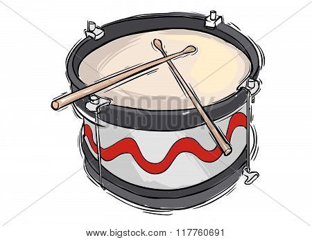 Vector Illustration Of A Musical Instrument Snare Drum