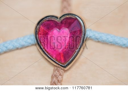 Pink Heart Knob On Textile Knurling