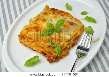 Lasagne And Leaves Of Basil