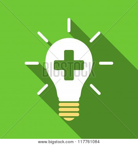 Medical Electric Lamp Flat Long Shadow Square Icon