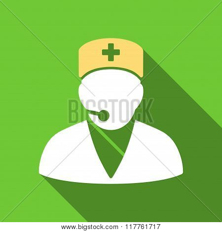 Medical Operator Flat Long Shadow Square Icon