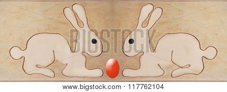 Two Easter Bunnies Sitting Adverse, Shape With String Formed