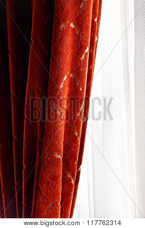 Elegant Red Velvet Window Curtain