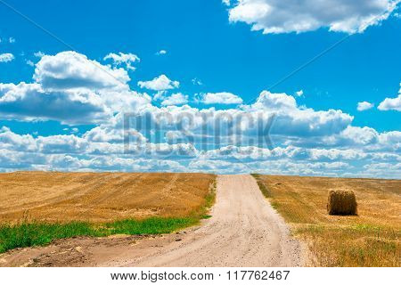 Dusty Road In The Sloping Field Of Wheat Of Gold Color