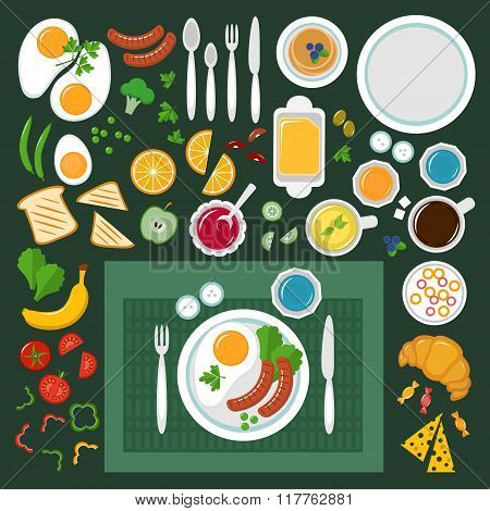 Breakfast. Top view, vector icons set, flat style