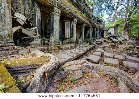 The ruins of the ancient temple Ta Som destroyed by trees in Angkor complex