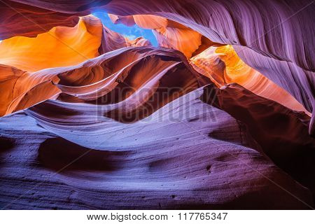 Phenomenal orange and purple hues slot canyon Antelope.  Arizona, USA. Upper Antelope Canyon in the Navajo reservation