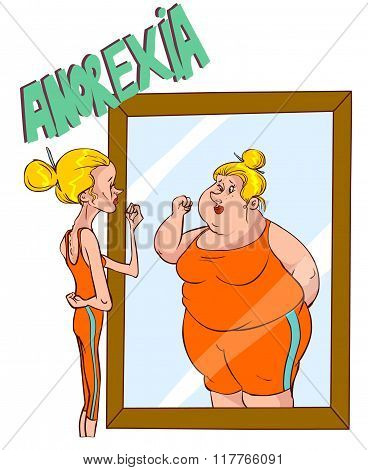Vector Illustration Of A Anorexia - Distorted Body Image
