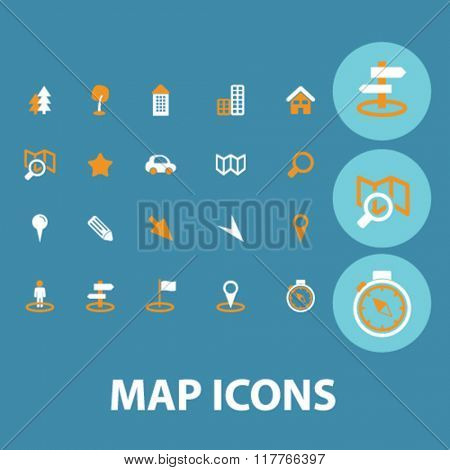 Map icon, maps concept, map background, map logo, location, route  icons, signs, vector, concept set