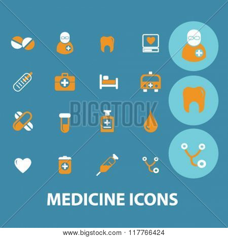 medicine and pharmacy icons, signs vector concept set