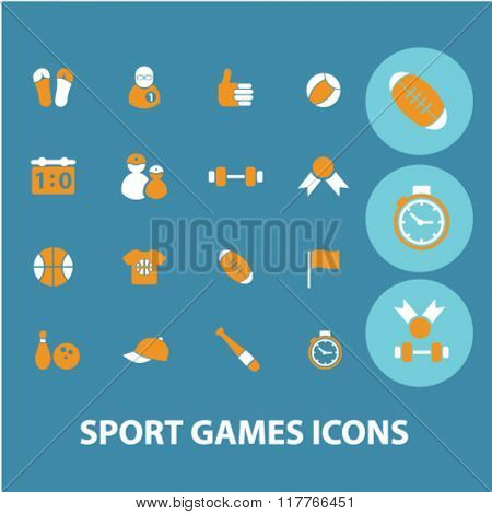 sport, games, gym, fitness icons, signs vector concept set