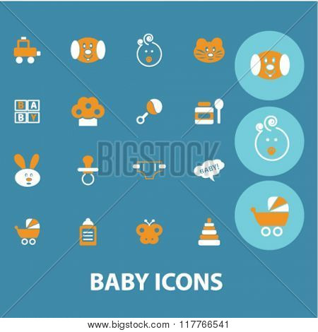 baby, kids, toys, children icons, signs vector concept set
