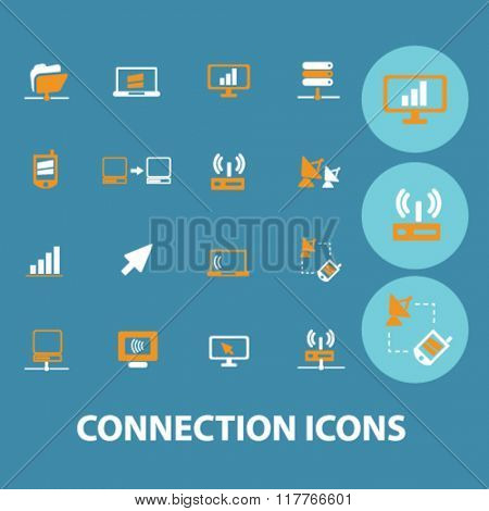 communication, connection, network  icons, signs vector concept set