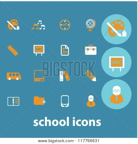 school icons, learning concept, education vector, school logo, school background - set