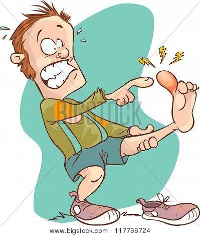 Vector Illustration Of A Cartoon  Man Injured Foot