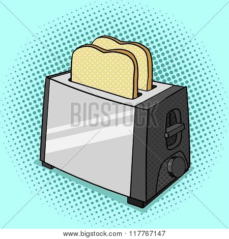 Toaster with toasts pop art style vector