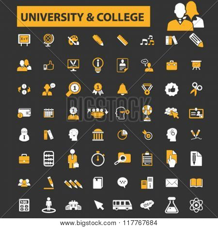 university, education, learning, study, science, research icons
