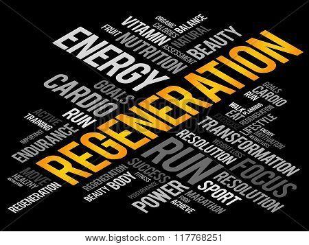 Regeneration word cloud health concept, presentation background