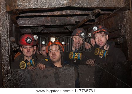 Gorlovka; Ukraine - February 26; 2014: Miners Of The Mine Named After Kalinin Fall Into The Work