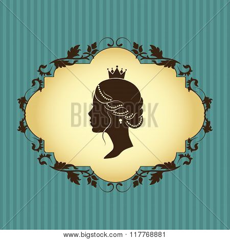 Floral vintage frame in beige brown color and profile silhouette of a princess