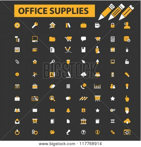 office supplies icons, office strationary icons