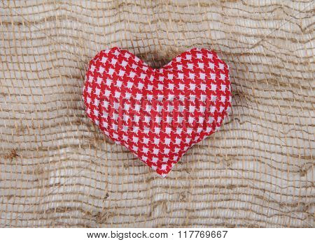 Red white Valentine fabric heart on sackcloth