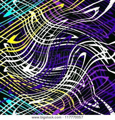 Colored Lines Graffiti On A Black Background Vector Illustration