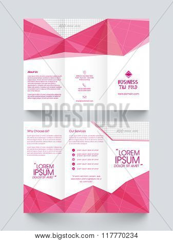 Creative Two Page abstract Trifold Brochure, Template or Flyer design with space to add images for Business concept.