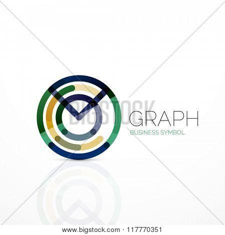 Abstract logo idea, linear chart or graph  business icon. Creative vector logotype design template