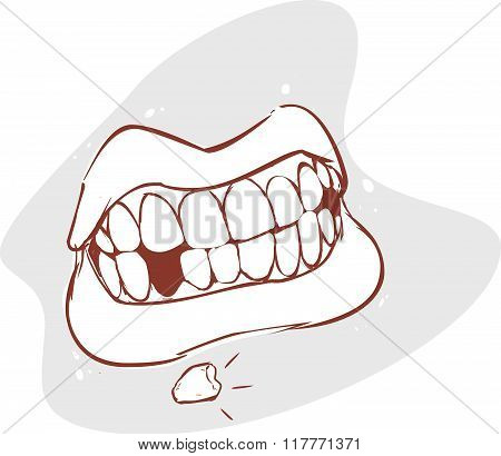 White Backround Vector Illustration Of A Broken Teeth