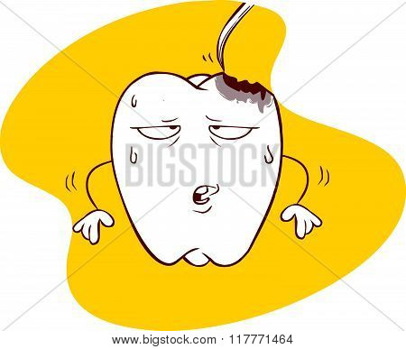 Yellow Background Vector Illustration Of A Tooth Decay