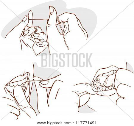 Red Background Vector Illustration Of A Flossing