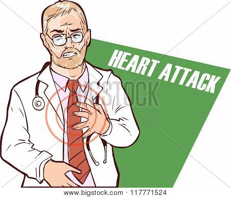 Vector Illustration Of A The Doctor Who Had A Heart Attack