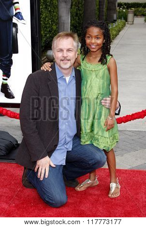 Karey Kirkpatrick and Yara Shahidi at the Los Angeles premiere of