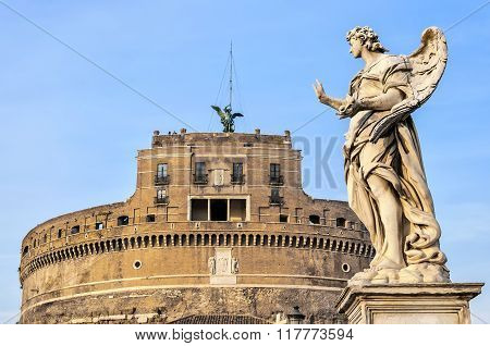Rome Angel Statue At The Castel Sant Angelo