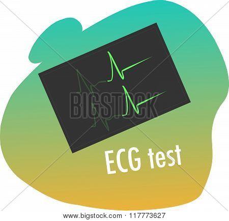 Green Backround Vector Illustration Of A Ecg Test