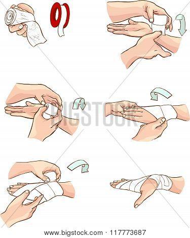 White Backround Vector Illustration Of A Hand Bandage