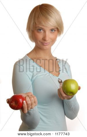 Attractive Blond Girl With Apples