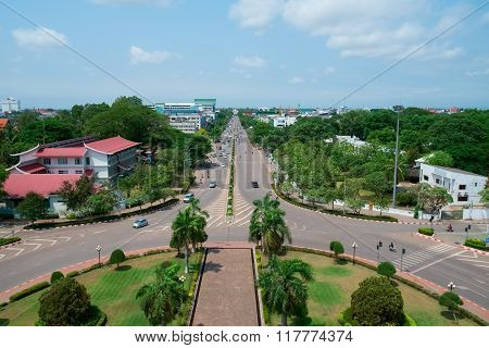 Aerial View Of Vientiane, Laos